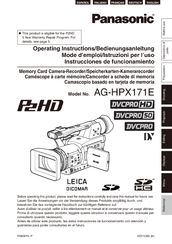 Panasonic SD AG-HPX171E Operating Instructions Manual