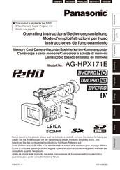 Panasonic SD AG-HPX171E Operating Instructions Manual