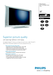 Philips 30PF9946 Specification Sheet