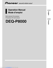 Pioneer DEQ-P800 - Equalizer / Crossover Operation Manual