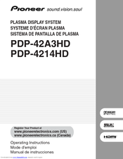 Pioneer PDP-42A3HD Operating Instructions Manual