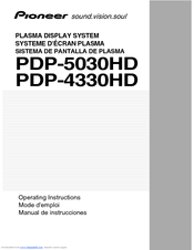 Pioneer PDP-4330HD Operating Instructions Manual