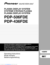Pioneer PDP-436FDE Operating Instructions Manual