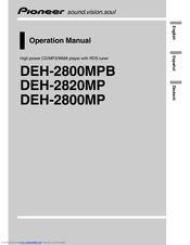 Pioneer DEH 2800MP - Radio / CD Operation Manual