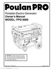 Poulan Pro PPG 6000 Manuals on