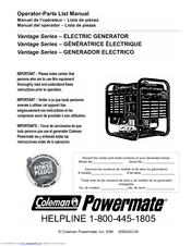 Ipls coleman powermate generator illustrated parts listing.