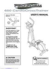 Proform 650 Cardio Cross Trainer Elliptical Manuals