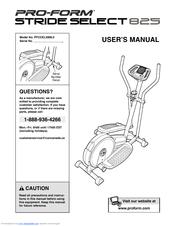 Proform Stride Select 825 Manuals