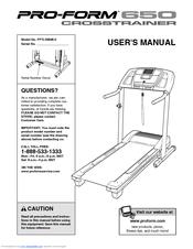 Proform 650 Crosstrainer Treadmill Manuals