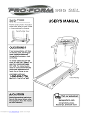 Proform 995 Sel Treadmill Manuals