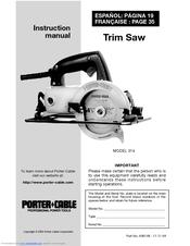 Porter Cable 314 Instruction Manual Pdf Download Manualslib