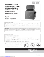 Raypak Raytherm H-2500 Installation And Operating Instructions Manual