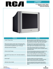 rca 27f650t 27 truflat tv manuals rh manualslib com RCA TruFlat Problems RCA TV