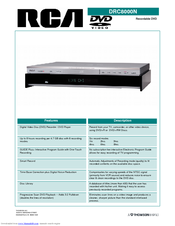 RCA DRC8000N - Progressive-Scan DVD Recorder/Player Specifications