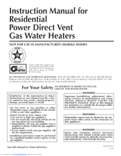 140076_1103_product reliance water heaters 606 manuals