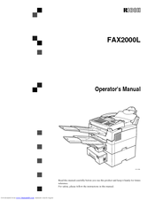 ricoh fax2000l manuals rh manualslib com Ricoh Fax Machine Ricoh Fax Printer