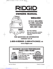 ridgid wd1450 manuals rh manualslib com ridgid wd1450 owners manual Shop-Vac Parts RIDGID WD1450