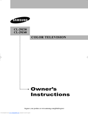 Samsung CL-29Z40MQ Owner's Instructions Manual