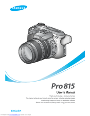 Samsung 120815 - Digimax Pro 815 8MP Digital Camera User Manual