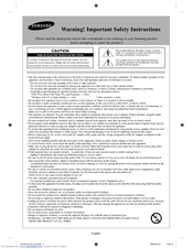 Samsung UN40B6000VF Safety Instructions