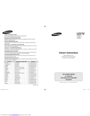 Samsung LE40F7 Owner's Instructions Manual