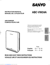 Sanyo ABC-VW24A - Air Washer Plus&#8482 Instruction Manual