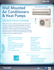 Sanyo 18KHS72 - 17,500 BTU Ductless Single Zone Mini-Split Wall-Mounted Heat Pump Specifications