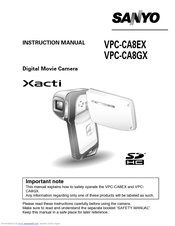 sanyo xacti vpc ca8ex manuals rh manualslib com sanyo xacti avc/h 264 instruction manual sanyo xacti user manual