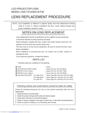 Sanyo LNS-T31A - Telephoto Zoom Lens Replacement Procedure