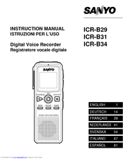 Sanyo ICR-B31 Instruction Manual