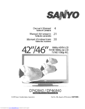 sanyo dp46840 46 diagonal lcd full hdtv 1080p manuals rh manualslib com Sanyo TV Sanyo SCP-3810 Manual