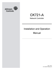 JOHNSON CONTROLS CK721-A INSTALLATION AND OPERATION MANUAL ... on