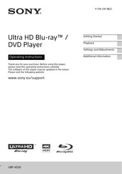 Sony Ultra HD Blu-ray UBP-X500 Operating Instructions Manual