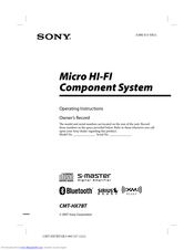 Sony CMT-HX7BT Operating Instructions Manual