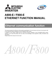 Mitsubishi Electric A800-E Instruction Manual