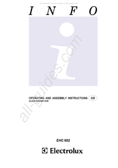 Electrolux EHC 602 Operating And Assembly Instruction Manual