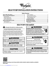 Whirlpool WGHP48 Installation Instructions Manual