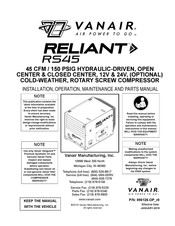 Vanair Reliant RS45 Installation, Operation, Maintenance And Parts Manual