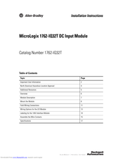 Allen Bradley Micrologix 1762 Iq32t Installation Instructions