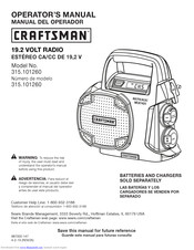 Craftsman 315.101260 Operator's Manual