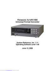 Panasonic AJUFC1800 - HD STANDARDS CONVERT System Reference Manual