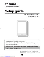 Toshiba BookPlace MONO Setup Manual