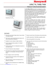 Honeywell LYRIC T4 Product Specification Sheet