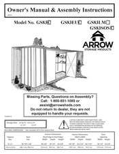 Arrow GS83C Owner's Manual & Assembly Instructions