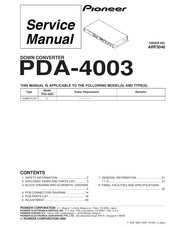 Pioneer PDA-4003 Service Manual