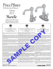 Black & Decker Price Pfister Marielle 72 Series Instructions Manual