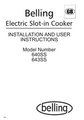 Belling 640SS Installation And User Instructions Manual