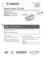Canon VIXIA HF W11 Basic User's Manual