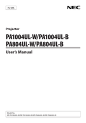 NEC PA1004UL-W User Manual