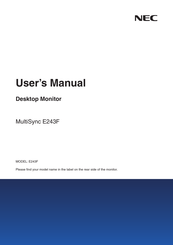NEC MultiSync E243F User Manual